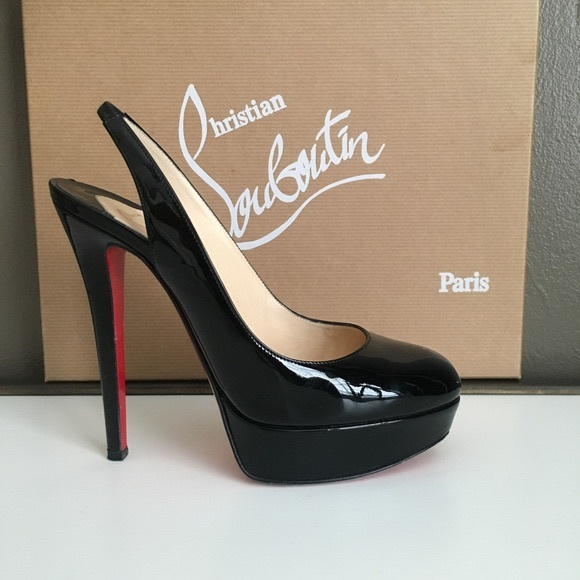 Black Louboutin Bianca sky high slingback pumps